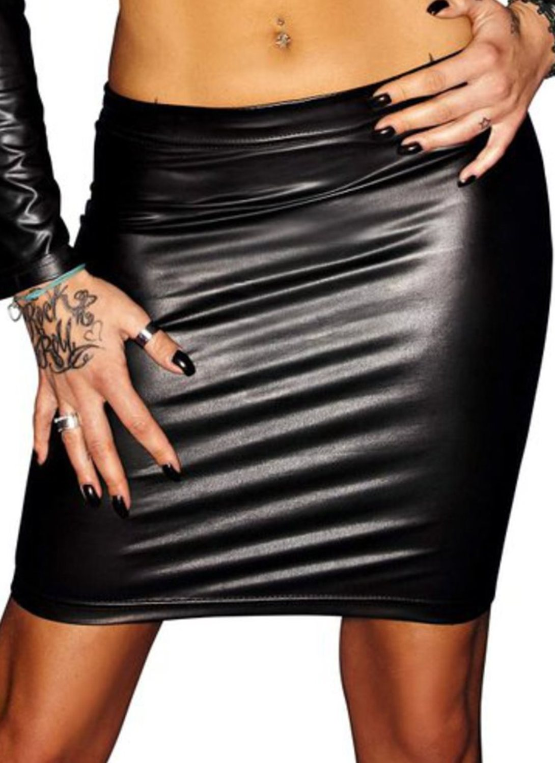 di Noir Lacing Wetlook Skirt Handmade E4q4Xw