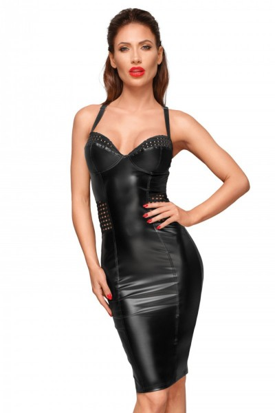 Noir Handmade Damen Kleid im Powerwetlook